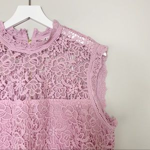 Nanette Lepore Tops - Nanette Lepore Pink Lacy Mock Neck Tank Top XL